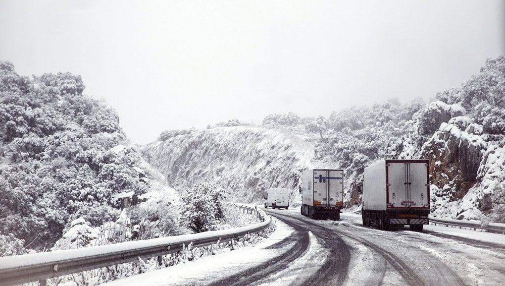 Varios camiones en una carretera nevada