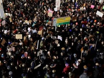 Protesta en la terminal 4 del Aeropuerto John F. Kennedy