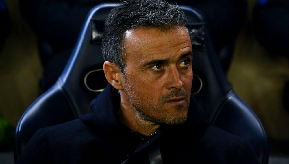 Luis Enrique, en un partido con el Barça