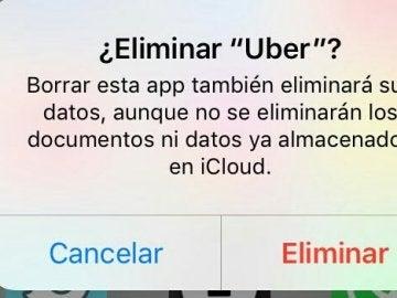 Pantalla para eliminar Uber