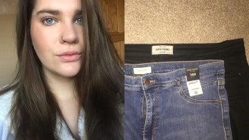 Lucy Horsley junto a la imagen de los pantalones que colgó en Facebook