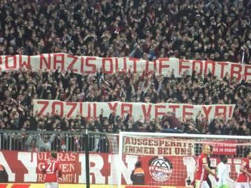 Pancarta desplegada en el Allianz Arena en contra de Zozulya
