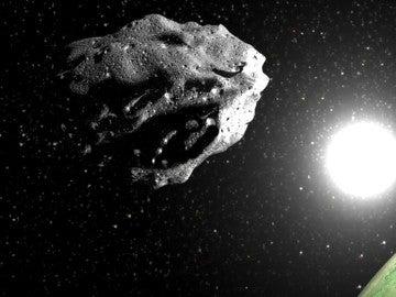 Recreación de un asteroide con el Sol y la Tierra