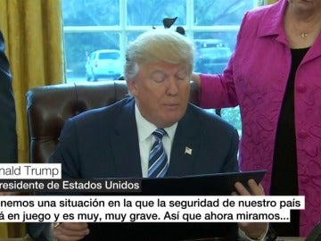 """Frame 8.515151 de: Trump, tras la decisión de los jueces de suspender su veto migratorio: """"Nos veremos en los tribunales"""""""