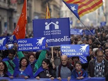 Manifestación en Barcelona a favor de la acogida de los refugiados