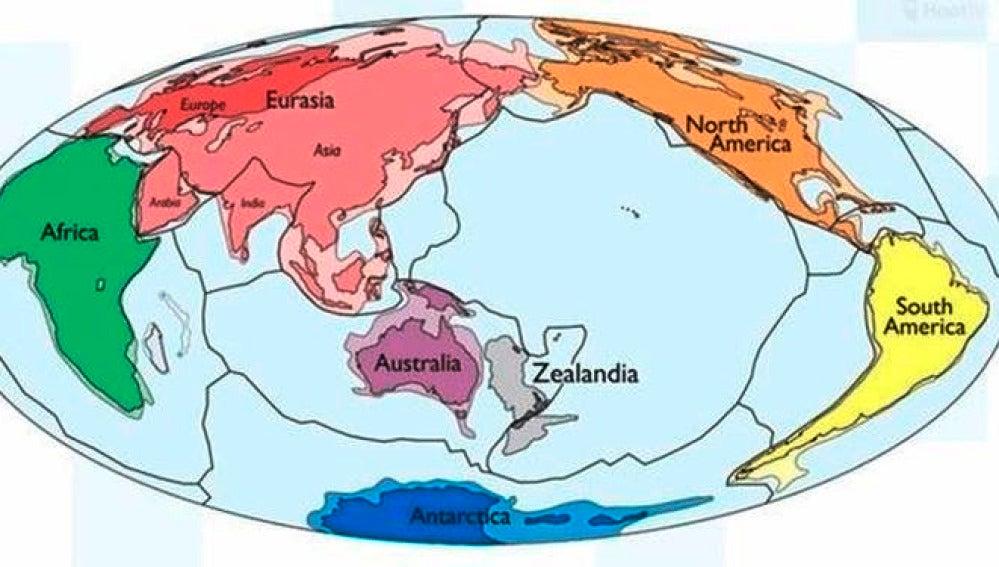 Imagen de la división continental de la Tierra incluyendo Zelandia