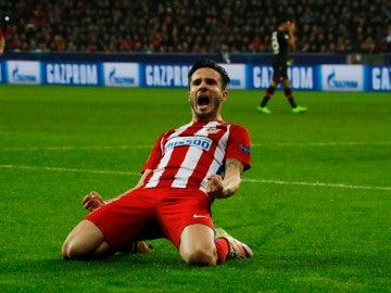 Saúl celebrando su gol con el Atlético de Madrid