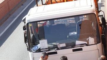 El camión  perseguido con bombonas de butano