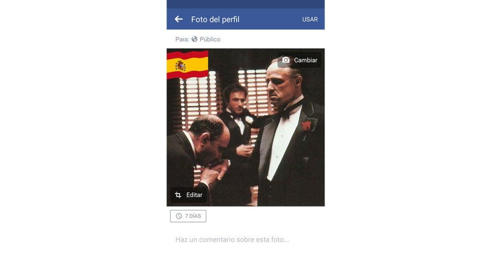 Opción de Facebook para poner la bandera de tu país