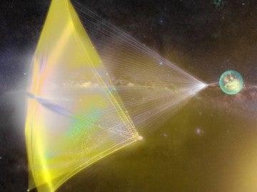 Aspecto de la sonda con la vela cósmica.