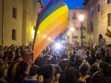 Manifestación del colectivo LGTB contra las transfobia