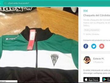 Un jugador del Córdoba vende su equipación a través de Wallapop