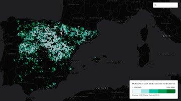 El mapa de la España deshabitada