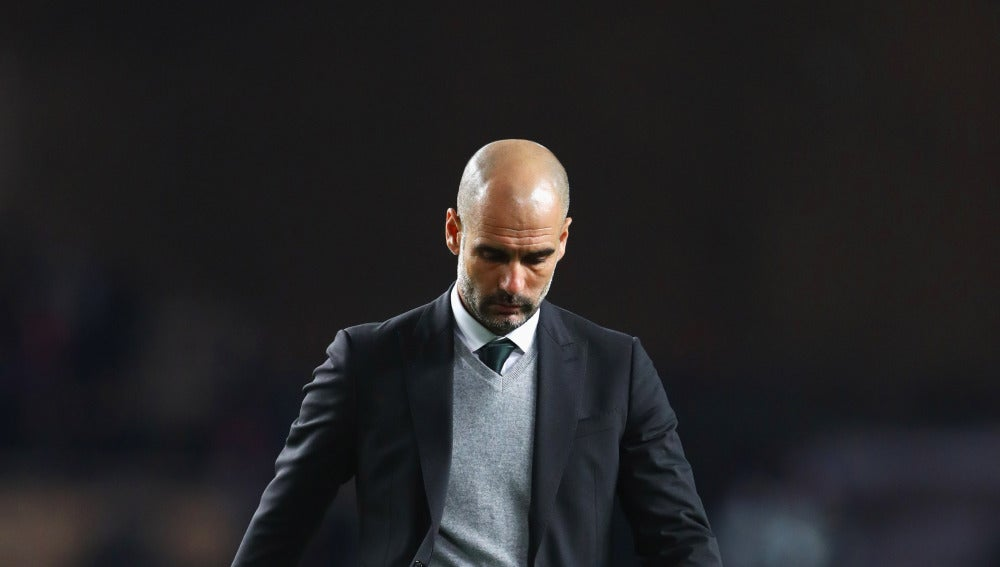 Pep Guardiola, durante el Mónaco-City