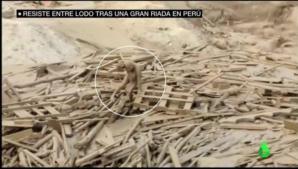 Mujer sobrevive a un lodazal en Perú