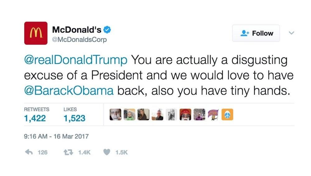Tuit de McDonald's contra Donald Trump