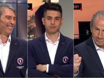 Lobo Carrasco, Álvaro Benito y Petón, durante el sorteo de cuartos de la Champions