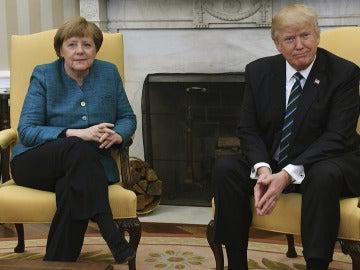 Angela Merkel y Donald Trump en la Casa Blanca