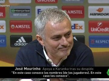 """Frame 6.976666 de: Mourinho, sobre la destitución de Karanka: """"Conozco el nombre de los jugadores que lo han echado"""""""
