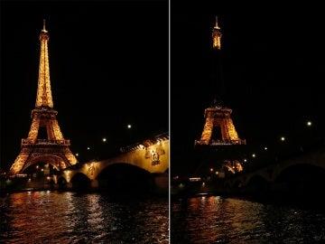 La torre Eiffel Tower durante el apagado para celebrar la Hora del Planeta