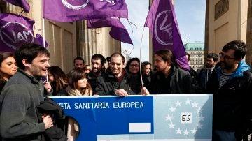Pablo Iglesias en una manifestación de Berlin