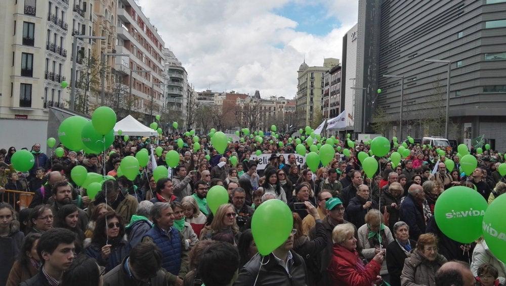 Fotografía facilitada por La Plataforma Sí a la Vida, que cuenta con más de 500 asociaciones adheridas, que ha reunido en en la plaza de Felipe II de Madrid a cientos de personas para celebrar, un año más, el Día Internacional de la Vida