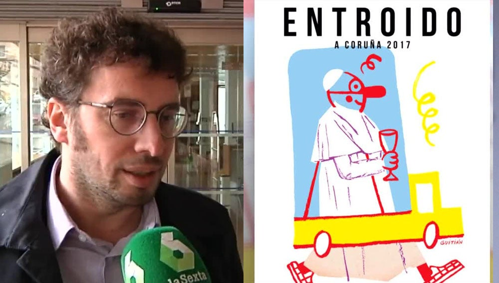 Concejal de Cultura de A Coruña junto al polémico cartel