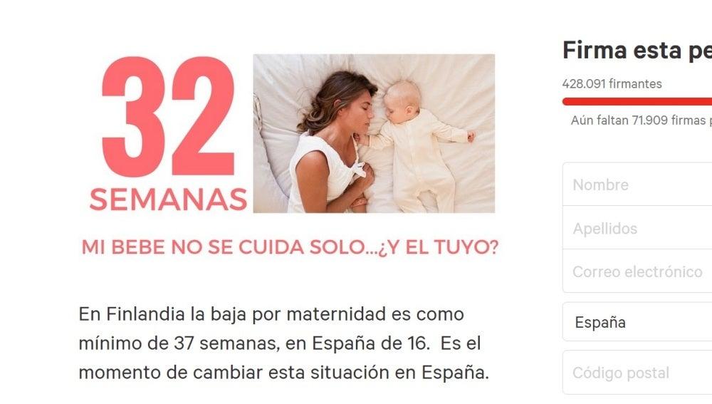 Perticion en change.org para ampliar los permisos de maternidad