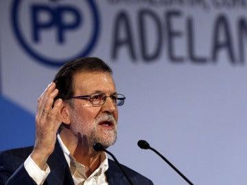 Mariano Rajoy en un acto del PP en Cataluña