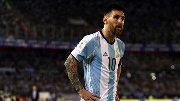 Leo Messi, durante el partido contra Chile