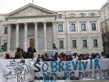 Imagen de una manifestación de manteros en Madrid