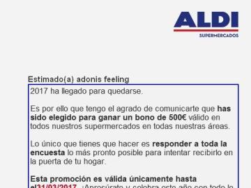 El mail falso de Aldi: están suplantando a la empresa para acceder a tus datos