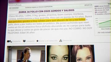 Los anuncios porno que un acosador publica en Internet de Vanesa