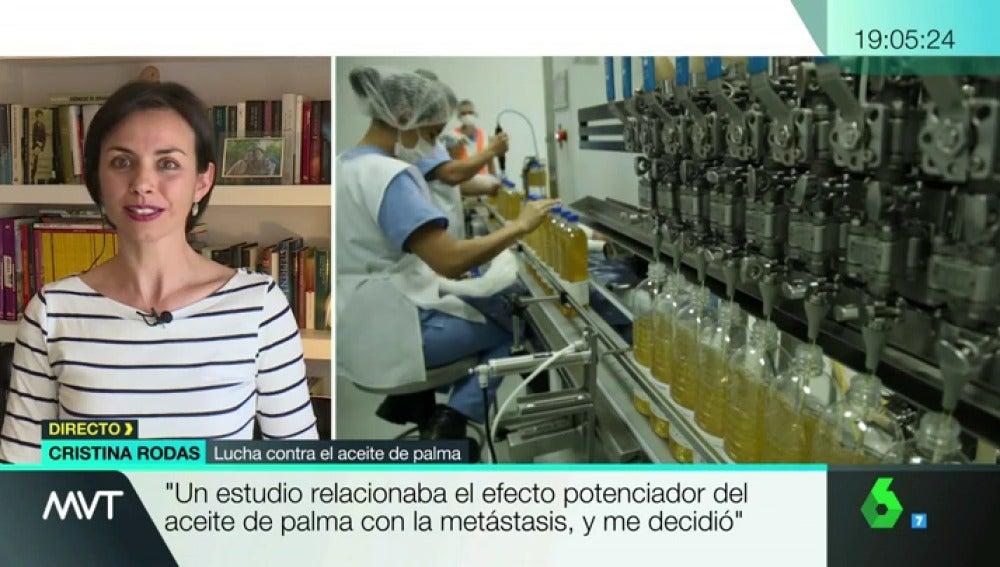 """Frame 98.105575 de: Cristina lucha contra el aceite de palma: """"Me diagnosticaron cáncer y ese aceite potencia la metástasis"""""""