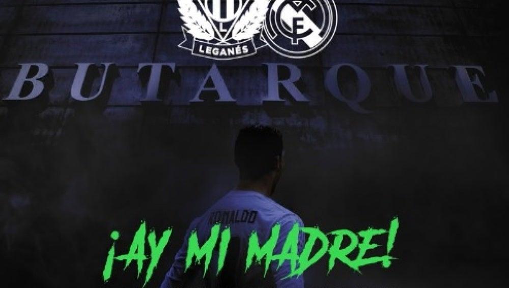 Cartel del Leganés con Cristiano Ronaldo como protagonista