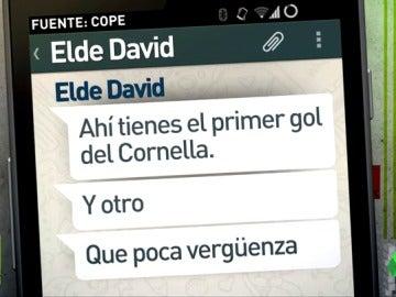 Frame 36.628571 de: Los Whatsapps que demostrarían el supuesto amaño de los cinco partidos del Eldense
