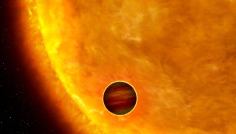 Representación artística de lo que podría ser el exoplaneta KELT-16b