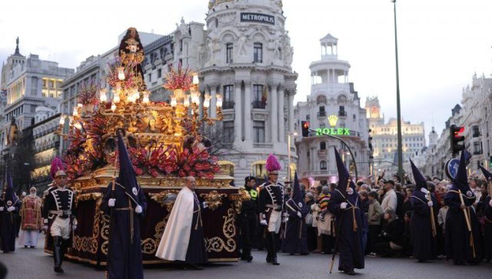 Procesión en Madrid durante la Semana Santa