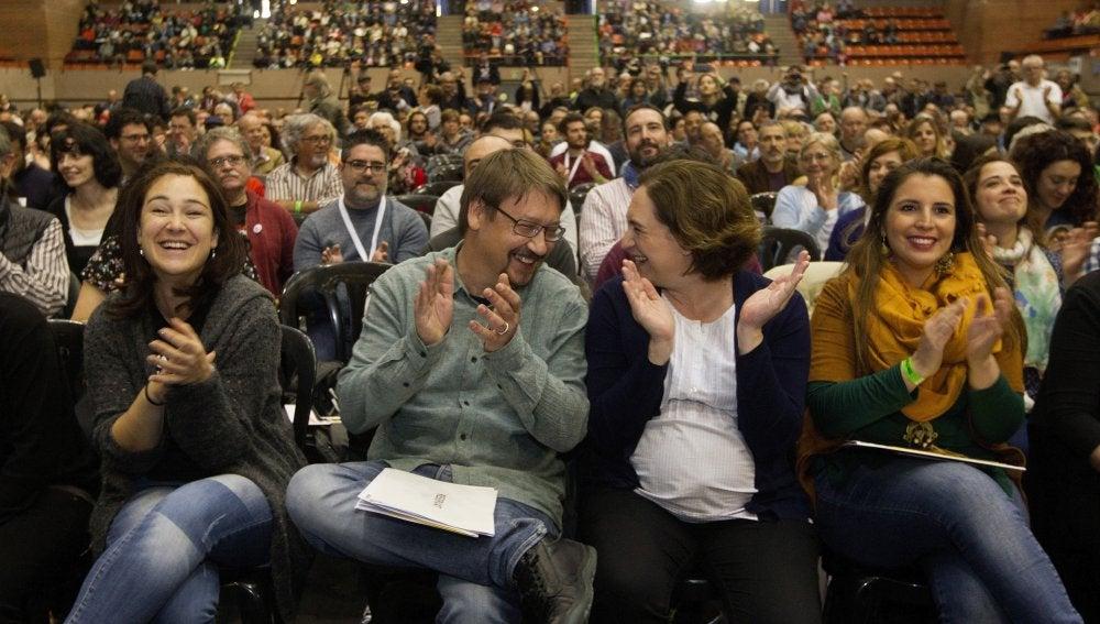 """La alcaldesa de Barcelona, Ada Colau y el portavoz de """"En Comú Podem"""", Xavier Doménech"""