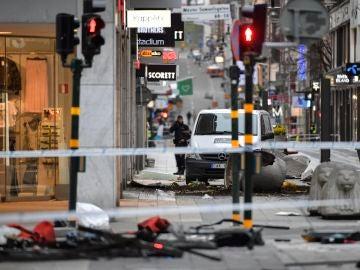 Vista de la zona en la que se produjo un atentado en el centro de Estocolmo