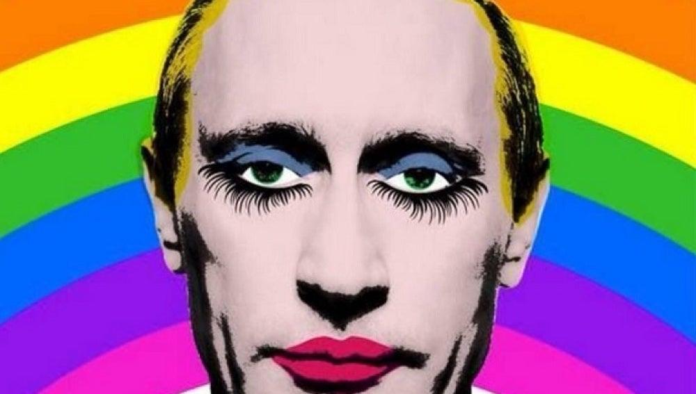Rusia prohibe la imagen de Vladimir Putin con los ojos y labios pintados