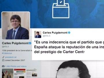 Carles Puigdemont publica un tuit para defender que no ha utilizado dinero público en su visita a Jimmy Carter