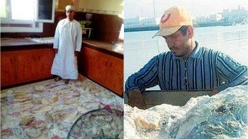 Jalid al Sinani junto al vómito de cachalote