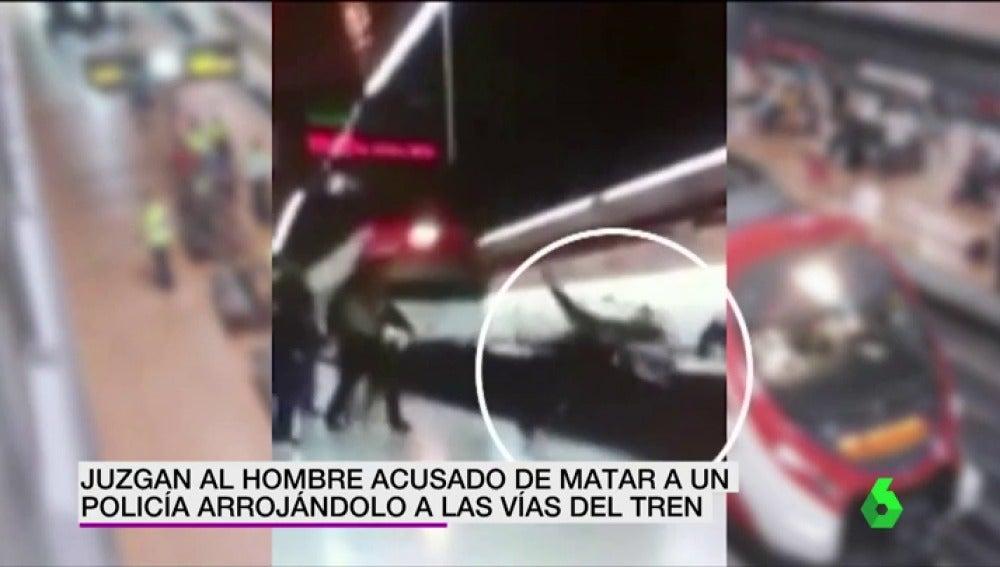 Frame 3.975047 de: Juzgan al hombre acusado de matar a un policía arrojándolo a las vías del tren