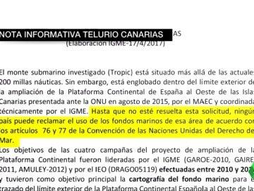 Frame 19.172824 de: España pide a la ONU la soberanía de las aguas donde está el yacimiento de telurio