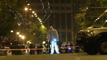 Lugar en el que ha detonado una bomba en Atenas