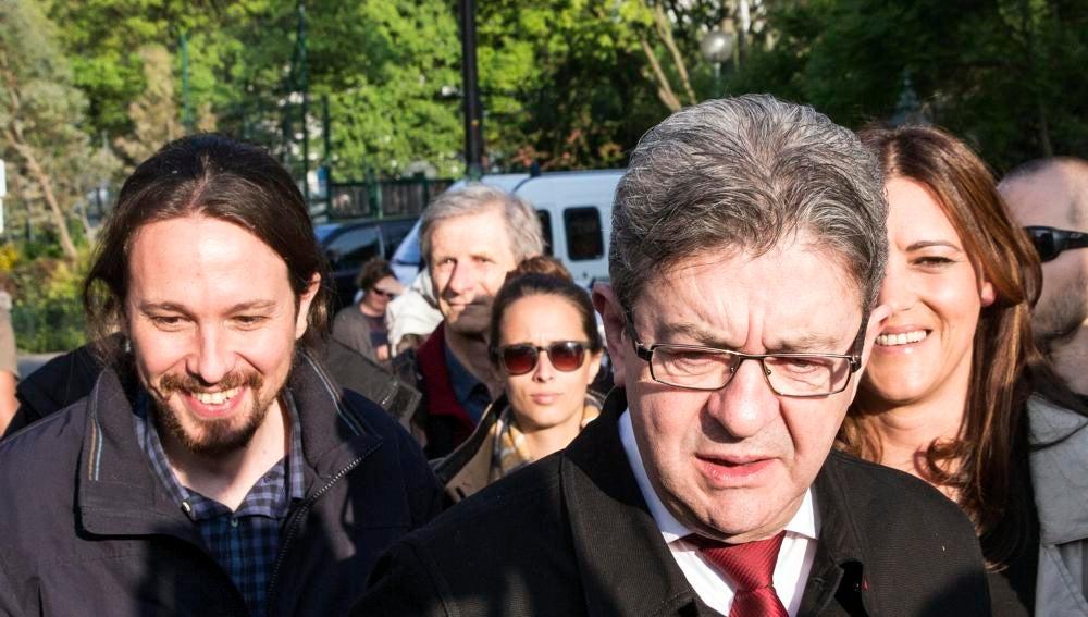 El candidato a las presidenciales francesas por La Francia Insumisa, Jean-Luc Mélenchony el líder de Podemos, Pablo Iglesias