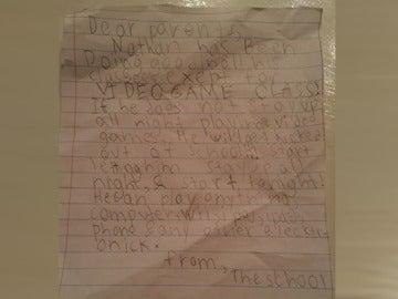 Carta viral de un niño