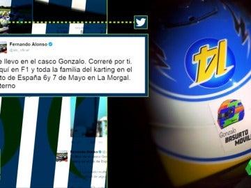 "Frame 12.268202 de: ""Correré por ti"": Fernando Alonso homenajea a Gonzalo Basurto en su casco con un emotivo mensaje"