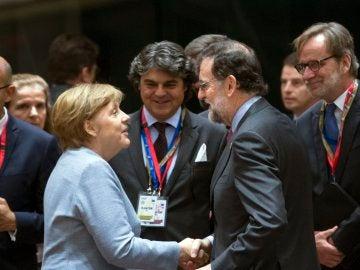 Merkel y Rajoy en la Cumbre de la UE